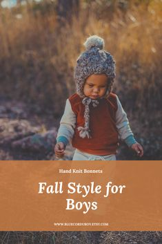 Fall style for boys featuring a hand knit beanie with pom pom! This beanie is as soft and cozy as it looks! Knitted Baby Clothes, Baby Hats Knitting, Cute Baby Clothes, Crochet Hats, Baby Sun Hat, Baby Girl Hats, Baby Winter Hats, Toddler Boy Fashion, Baby Bonnets