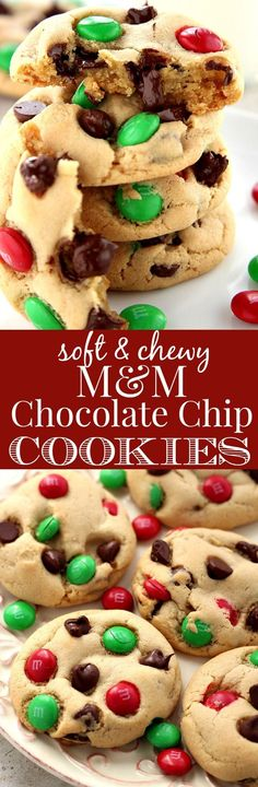 Soft and Chewy M&M Chocolate Chip Cookies - my favorite chocolate chip cookie gets all dressed up for the holidays! The addition of bright red and green M&M's makes them perfect for Santa! No chilling required, which is a bonus if you make them with kids!