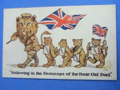 WW1 Postcard 1914 1918 BRITAIN CANADA INDIA AUSTRALIA S AFRICA LIONS Theme