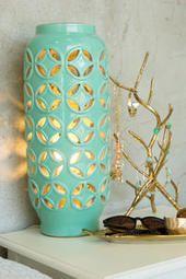 Mint Cutwork Ceramic Lamp