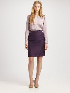 Lavender silk top with plum pencil skirt