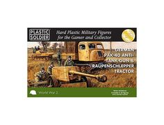 The Plastic Soldier Company 15mm German Pak 40 with Raupenschlepper Tractor from the plastic model kits range provides a selection of highly detailed miniatures that accurately recreate the real life German artillery from World War II.