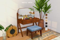 Mid-Century Modern Vanity Table by vroshii [ [ [ Maxis, Sims Four, Sims 4 Mm, Modern Vanity Table, Vanity Tables, Mid Century Modern Vanity, The Sims 4 Packs, Muebles Sims 4 Cc, Sims 4 Bedroom