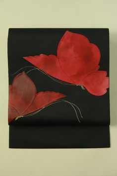 Black nagoya obi (hassun) / 黒地 花のような蝶のお太鼓柄 化繊八寸名古屋帯 #Kimono #Japan http://global.rakuten.com/en/store/aiyama/