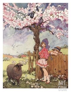 Little girls, pink blossoms and sheep. Happy, happy.  Print by Dorothy Wheeler www.teachyourchildtoread.com