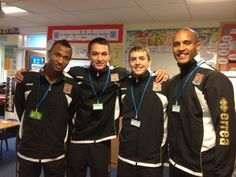Members of Northampton Town Football Club visited one day.