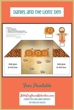 Daniel and the Lions' Den Free Printable Diorama use for young children to study Daniel 6