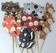 Woodland Cupcake Toppers, Forest, Animal, Party supplies, set of 18 Decorations, die cuts. $18.00, via Etsy.