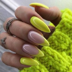 157 chic acrylic yellow nails art for spring nails design - Spring Trends Spring Nail Colors, Spring Nail Art, Spring Nails, Fall Nails, Neon Nail Colors, Two Color Nails, Popular Nail Colors, Colorful Nails, Colorful Nail Designs