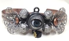 Steampunk Style Mixed Metals Cuff Bracelet With Eyeball