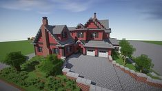 Red Old Villa Minecraft Building Ideas 2 Minecraft Mods, Minecraft Villa, Cool Minecraft Creations, Minecraft Building Plans, Modern Minecraft Houses, Minecraft Mansion, Minecraft Houses Blueprints, Minecraft City, Amazing Minecraft
