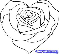 How to Draw a Pretty Heart, Step by Step, Tattoos, Pop Culture, FREE Online Drawing Tutorial Rose Coloring Pages, Coloring Books, Coloring Pages For Kids, Coloring Sheets, Cute Heart Drawings, Online Drawing, Plant Drawing, Rose Tattoos, Rose Heart Tattoo