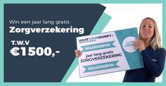 🎉 SaveYourMoney.nl is deze maand online gegaan en dat willen wij graag met jullie vieren!🎉    DAAROM GEVEN WIJ EEN JAAR LANG GRATIS ZORGVERZEKERING WEG t.w.v €1500.-💶💶