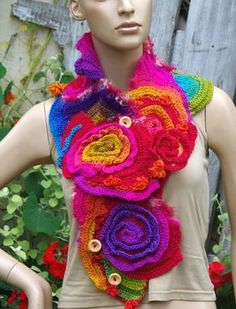 Crochet Scarf - Capelet. Unique scarf made Freeform method. Warm and pleasant to the touch. Beautiful unique design.  One of a kind  Size:One size fits all lenght about 40,94/7,87 (104/20cm)  Use color: rainbow  materials used: 100% acrylic premium  Care instruction: hand wash using warm water.  Because of different monitors and screen resolutions, colors may look different on the screen than really.