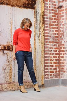 Keep your boyfriend jeans looking femine by adding a pop of color. This Old Navy Shaker Stitch sweater is the perfect touch. | Source: http://theeverygirl.com/making-boyfriend-jeans-and-sweatpants-look-chic