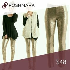 "Luxe Gold Sequin Pants Get ready to take center stage with these gold sequin skinny pants with just the right touch of shimmer for holiday cheer!! ●Gold sequins throughout. Comfortable nude lining. Elastic waistband.  ●Laid Flat Roughly:     *S: Waist 14""; Inseam 29""; 4.5""     *M: Waist 15""; Inseam 29""; Leg Opening 5""     *L: Waist 16""; Inseam 30""; Leg Opening 6"" ●Straight from the manufacturer NWOT! ●100% poly including lining.  ●FIRM UNLESS BUNDLED! Pants Skinny"