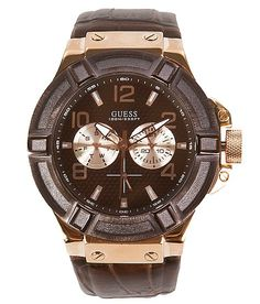 'Guess Leather Watch' #buckle #fashion www.buckle.com