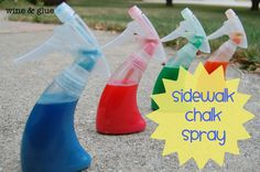 Sidewalk Chalk Spray-All you need is Flour, Food coloring, and Warm Water. A tablespoon of flour, 10 drops of food coloring, and about a half cup of warm water. Shake it up in the bottle and let your kid go nuts. Craft Activities For Kids, Summer Activities, Projects For Kids, Diy For Kids, Crafts For Kids, Do It Yourself Baby, Sidewalk Chalk, Babysitting, Food Coloring