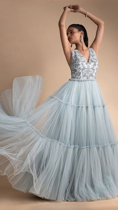 Powder blue net gown with embellished bodice and tiered bottom only on Kalki - Christmas-Desserts Long Gown Dress, Ball Gown Dresses, Long Gowns, Event Dresses, Party Dresses, Indian Wedding Gowns, Indian Gowns Dresses, Indian Weddings, Indian Designer Outfits