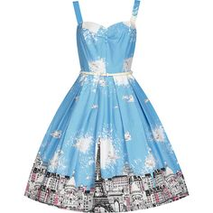 'Bernice' Paris Border Swing Dress ($40) ❤ liked on Polyvore featuring dresses, blue, tent dress, blue flared skirt, circle skirt, sweetheart dress and blue swing dress