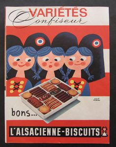 Hervé Morvan-  French vintage advert dated 60s for L Alsacienne cookies. $11.00, via Etsy.