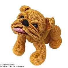 Patrón de pdf bebé Bulldog cachorro por Katja Heinlein crochet bully de tutorial amigurumi perro englische bulldogge inglés