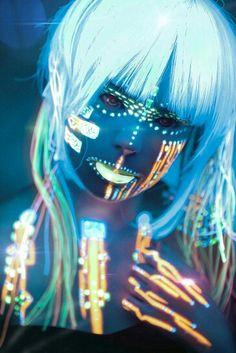cyberpunk, future fashion, futuristic girl, cyberpunk mask, led, neon light, blue, dark, cyberpunk girl, futuristic fashion, futuristic girl
