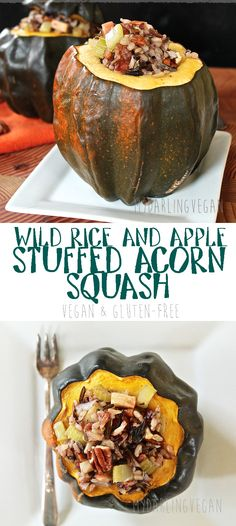Celebrate ALL the fall flavors with this delicious Wild Rice and Apple Stuffed Acorn Squash. Click through to get the recipe!