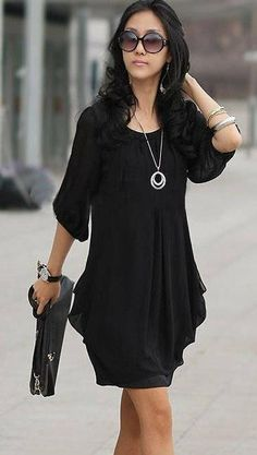 New Arrival Summer Long-sleeved Korean Chiffon Dress Casual Dresses from stylishplus.com