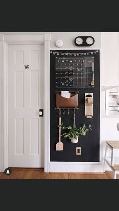 Command Center Kitchen, Family Command Center, Chalkboard Command Center, Command Centers, Modern Family, First Home, Home Organization, Home Projects, Sweet Home