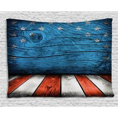 Primitive Country Decor Tapestry, Rustic Empty Wooden Interior with American Fla. - Primitive Country Decor Tapestry, Rustic Empty Wooden Interior with American Flag Design Print, Wal - Primitive Bedroom, Primitive Homes, Primitive Kitchen, Country Primitive, Primitive Pillows, Primitive Quilts, Blue Living Room Decor, Bedroom Decor, Entryway Decor