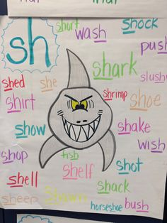 Love this anchor chart for the sh digraph. Really draws you in! Add a sentence about having teeth to chew and you could use this for a digraph spelling investigation and comparison Ela Anchor Charts, Kindergarten Anchor Charts, Reading Anchor Charts, Kindergarten Literacy, Literacy Activities, Spelling Activities, Teaching Phonics, Teaching Reading, Guided Reading