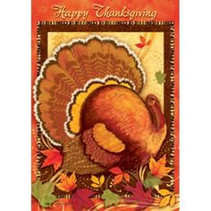 Happy Thanksgiving Turkey Double Sided House Flag
