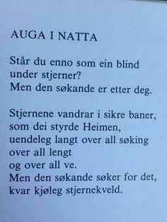 Auga i natta - Tarjei Vesaas Writing Art, Poems, Poetry