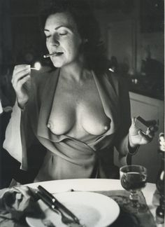 Helmut Newton's wife, June, at their kitchen