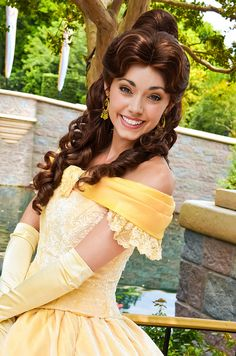 Princess Belle from Disney's Beauty and the Beast Disneyland Photos, Disneyland Resort, Disney Princess Cosplay, Beauty And The Beast Movie, Belle Cosplay, Belle And Beast, Disney Face Characters, Princess Belle, Now And Then Movie