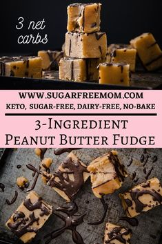 This easy 3 Ingredient Keto Peanut Butter Fudge is low carb, sugar free and dairy free! | Sugar Free Mom Sugar Free Candy, Sugar Free Desserts, Low Carb Desserts, Ketogenic Recipes, Keto Recipes, Induction Recipes, Keto Foods, Keto Snacks, Ketogenic Diet