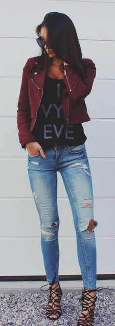 burgundy jacket, ripped jeans @roressclothes closet ideas #women fashion outfit #clothing style apparel