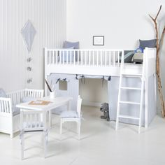 seaside white bed with playroom from oliver furniture - Oliver Furniture Hochbett