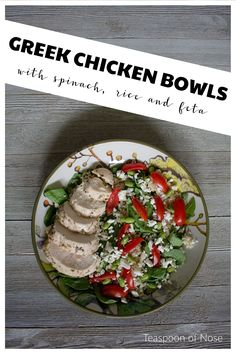 Greek chicken bowls make for a delicious & easy lunch. Whip up a batch on Sunday for lunch all week! Lunch Recipes, Salad Recipes, Healthy Recipes, Healthy Soup, Healthy Eating, Greek Chicken, Feeding A Crowd, Good Enough To Eat, Food Inspiration