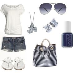 #spring #outfits / sandals + denim shorts