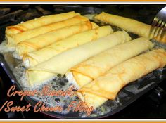 Crepes-Nalesniki w/Sweet Cheese Filling Recipe; from Chef Tad's Polish Cooking Class. Shared by Kim Biegacki on Just a Pinch!