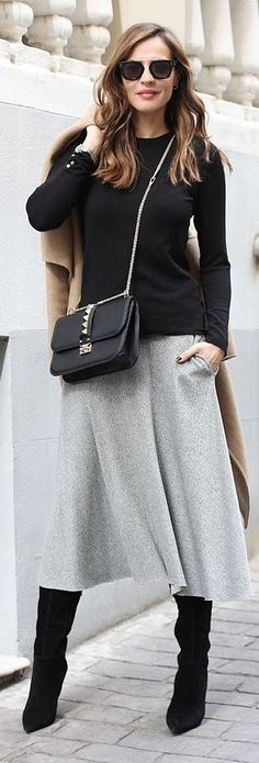 Grey Maxi A-skirt by LadyAddict