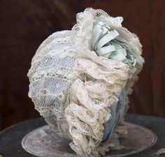 Wonderful Small Antique French Valenciennes Lace & Aqua Silk Satin from respectfulbear on Ruby Lane
