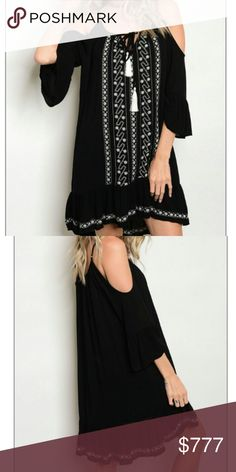 "Boho cold shoulder dress Brand new  Boutique item Price is firm  Chic boho cold shoulder dress featuring lovely embroidery,feminine ruffle at sleeve ends and bottom of dress. . Perfect for the season. So easy to put on and pair with heels for an evening out or sandals and a hat for a day on the town.   Medium bust approx 19.5""across Large bust approx 20.5""across  Tunic style-embroidered details- rayon-lined-adjustable straps   Vacation beach getaway picnic party comfortable comfy chic classy…"