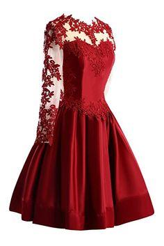 Bess Bridal Women's Sheer Lace Long Sleeve Short Prom Homecoming Dresses US2 Burgundy