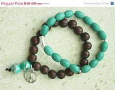 ON SALE Brown Wood Beads/ Turquoise Oval  by JustforJoyCreations, $13.50