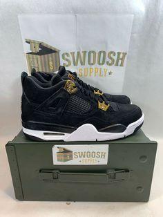 the latest 83e65 3f760 NEW Nike Air Jordan 4 Retro royalty BG 408452 032 Black Gold sneakers Size  6Y  Nike