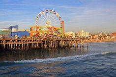 Santa Monica Pier, Santa Monica, CA. this is the ferris wheel I painted in the Surf Dog illustration :) I love going to Santa Monica!