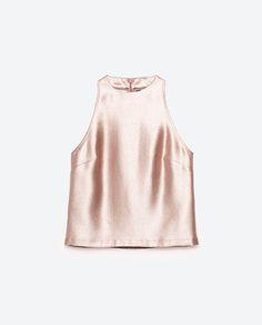 Image 6 of METALLIC HALTER NECK TOP from Zara